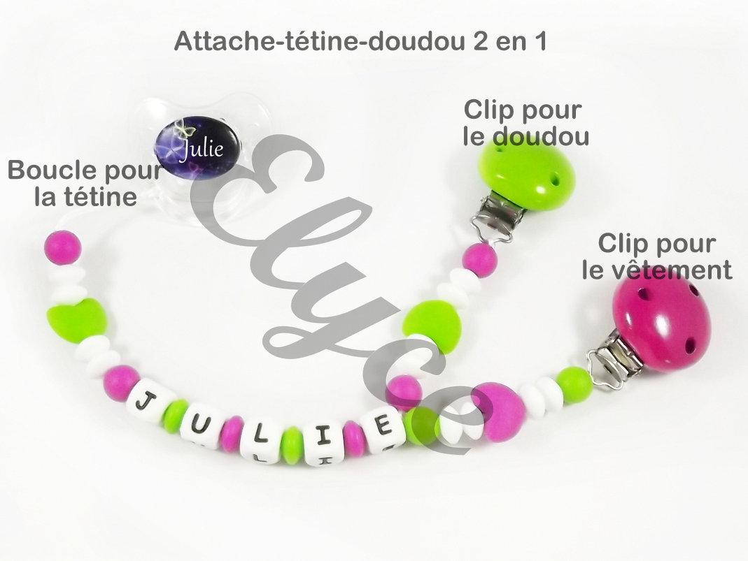 attache tétine / doudou hexagone - boutique elyce.wifeo