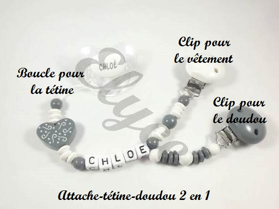 Attache t tine ou attache doudou papillon argent boutique - Perle pour attache tetine ...