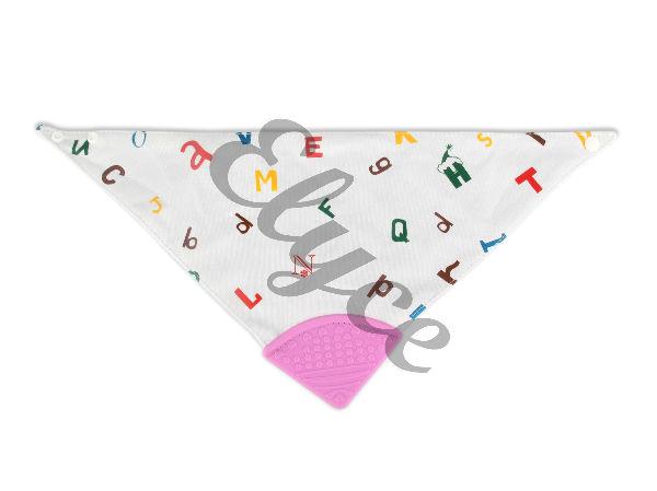 elyce bandana de dentition lettres rose avec embout en silicone pour bébé