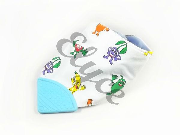 elyce bandana bavoir pour bébé avec embout en silicone spécial dentition