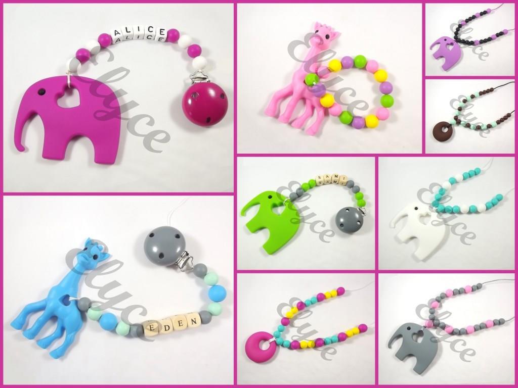 elyce attache collier hochet jouet dentition perles silicone éléphant girafe personnalisé prénom bébé creation