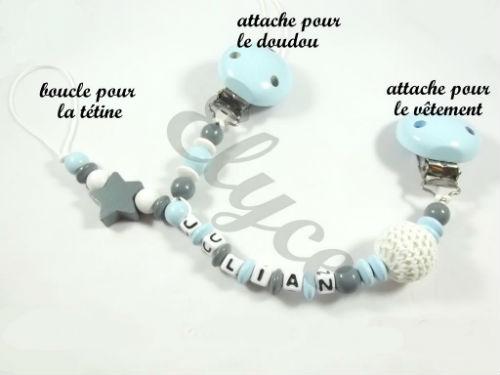 elyce attache tetine sucette tututte doudou perles bois personnalisé prenom bébé étoile