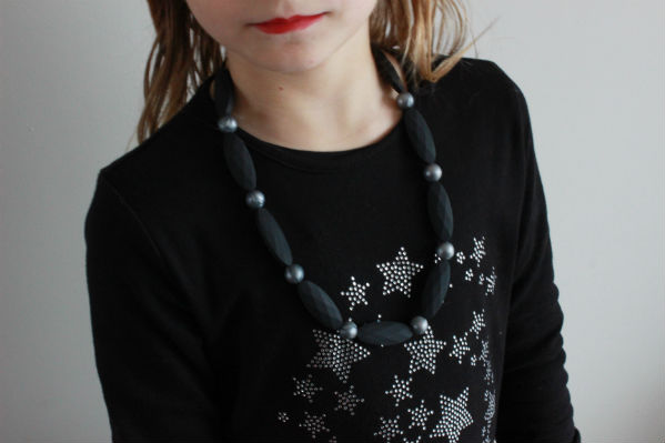 silicone teething necklace collier de dentition pour maman et bébé à mâchouiller NEALI argent